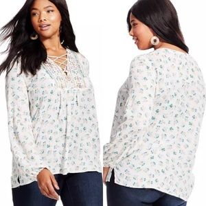 Democracy Gwynnie Bee Embroidered Lace Up Tunic🌺